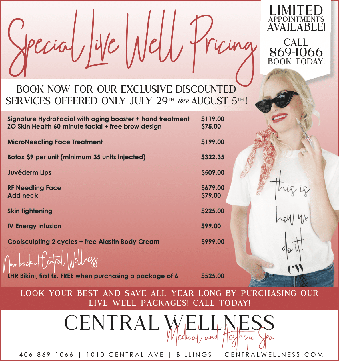 Central Wellness Live Well 2021 Specials